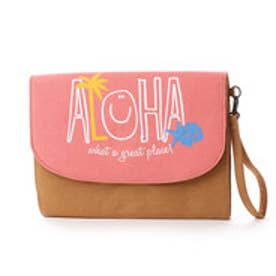 【kahiko】ALOHA&パームツリーニコクラッチバッグ ピンク