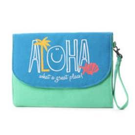 【kahiko】ALOHA&パームツリーニコクラッチバッグ ブルー