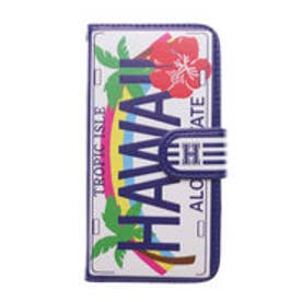 【kahiko】手帳型iPhone6/6s用スマホケース Hawaiian ホワイト×ネイビー