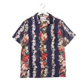 【Kahiko】ハイビスカス コキオ・ウラ MEN'Sアロハシャツ ネイビー