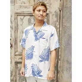 【Kahiko】トロピカルリーフMEN'Sアロハシャツ ホワイト