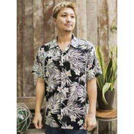 【Kahiko】プルメリア&リーフMEN'Sアロハシャツ ブラック