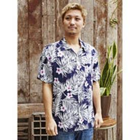 【Kahiko】プルメリア&リーフMEN'Sアロハシャツ ネイビー