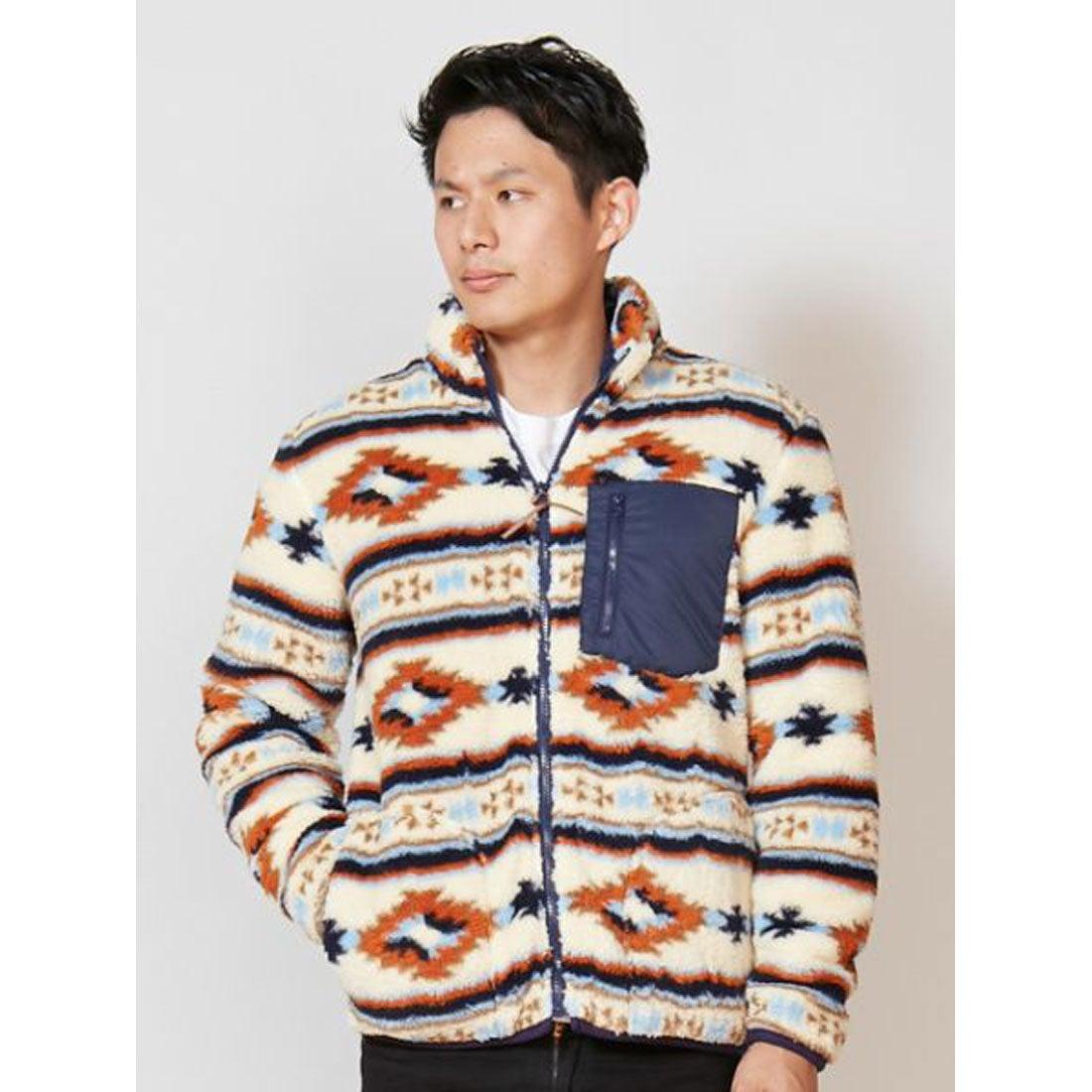 【Kahiko】オルテガ柄ボアMEN'Sショートジャケット マルチ