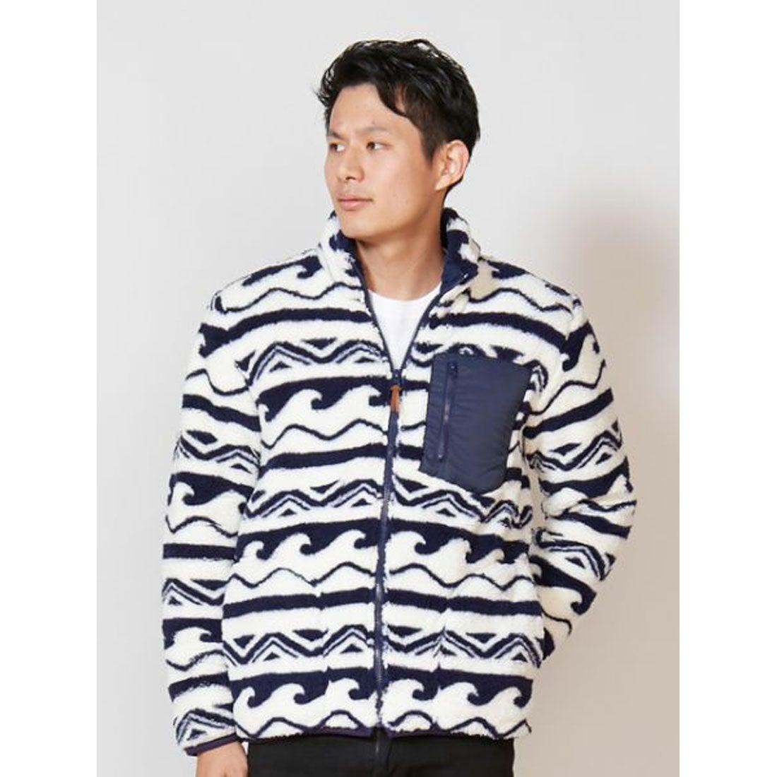【Kahiko】ウェーブボアMEN'Sショートジャケット ホワイトxブルー