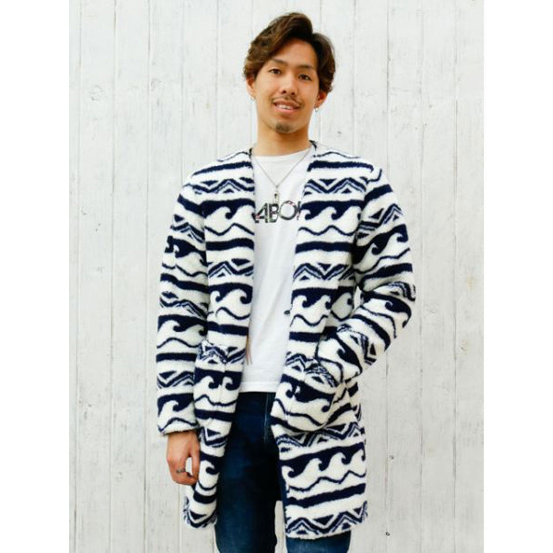 【Kahiko】ウェーブボアMEN'Sロングジャケット ホワイトxブルー