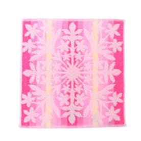【Kahiko】グラデーションハワイアンキルト風タオルハンカチ ピンク