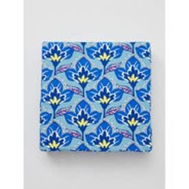 【カヤ】日本の花々四角座布団 ブルー