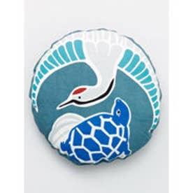 【カヤ】日本の縁起物 丸クッション小 ブルー