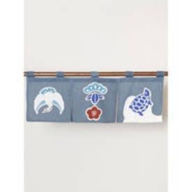 【カヤ】日本の縁起物 ミニ暖簾 ブルー