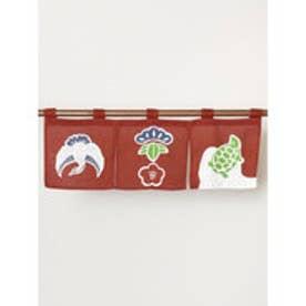 【カヤ】日本の縁起物 ミニ暖簾 レッド