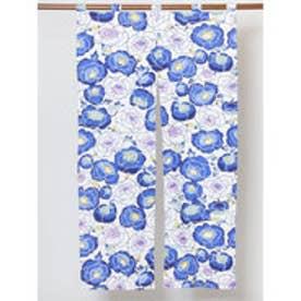 【カヤ】紅型風花柄暖簾 86×150cm ブルー