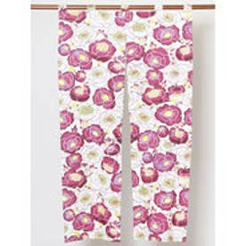 【カヤ】紅型風花柄暖簾 86×150cm ピンク