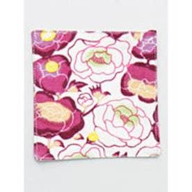 【カヤ】紅型風花柄コースター ピンク