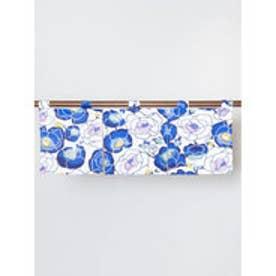 【カヤ】紅型風花柄ミニ暖簾 ブルー