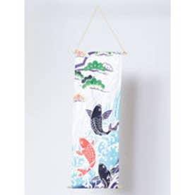 【カヤ】季節を飾るタペストリー 滝登り鯉 ホワイト×ブルー