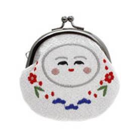 【カヤ】日本の民芸 ちりめん刺繍がま口 アイボリー