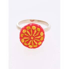 【カヤ】縫い飾り くるみぼたんリング イエロー
