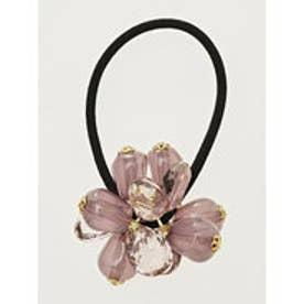 【カヤ】花かさねビーズヘアゴム パープル