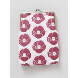 【カヤ】和花ふくれ織り縦型がま口 ピンク