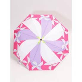 【カヤ】晴雨兼用折りたたみ傘 和モダン柄 風車 パープル