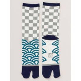 【カヤ】青海波×市松 足袋くつ下25?28cm ブルー系その他