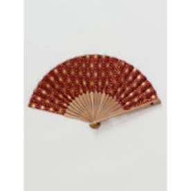 【カヤ】紳士用 金線麻の葉扇子 袋付き エンジ