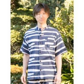 【カヤ】和紋メンズバンドカラーシャツ ネイビー