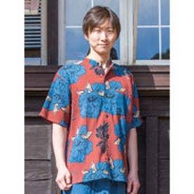 【カヤ】和紋メンズバンドカラーシャツ レッド