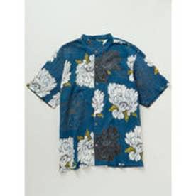 【カヤ】和紋メンズバンドカラーシャツ ブルー