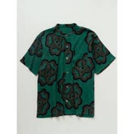 【カヤ】和紋メンズバンドカラーシャツ グリーン