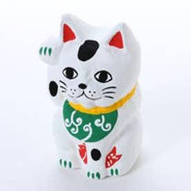 【カヤ】鯛招き猫 唐草 ホワイト×グリーン