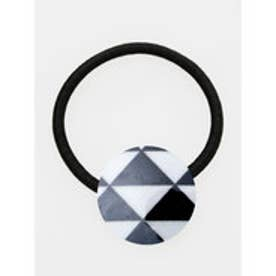 【カヤ】小紋ヘアゴム ブラック×ホワイト