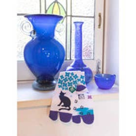 【カヤ】紫陽花と猫 足袋くつ下23~25cm ホワイト×ブルー