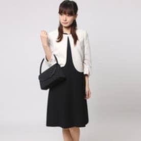 ブラックギャラリー BLACK GALLERY パフスリーブジャケットと切替ワンピのアンサンブルスーツ (ブラック) [ブラックフォーマル 喪服 礼服]