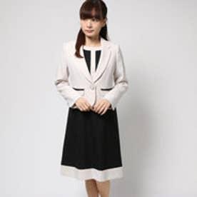 ブラックギャラリー BLACK GALLERY バイカラーワンピとテーラードジャケットのアンサンブルスーツ (アイボリー) [ブラックフォーマル 喪服 礼服]
