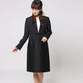 ブラックギャラリー BLACK GALLERY ノーカラージャケットとレース異素材ドッキングワンピのアンサンブルスーツ (ブラック) [ブラックフォーマル 喪服 礼服]