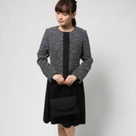 ブラックギャラリー BLACK GALLERY ノーカラージャケットとアシメタックワンピのアンサンブルスーツ (クロシロ) [ブラックフォーマル 喪服 礼服]
