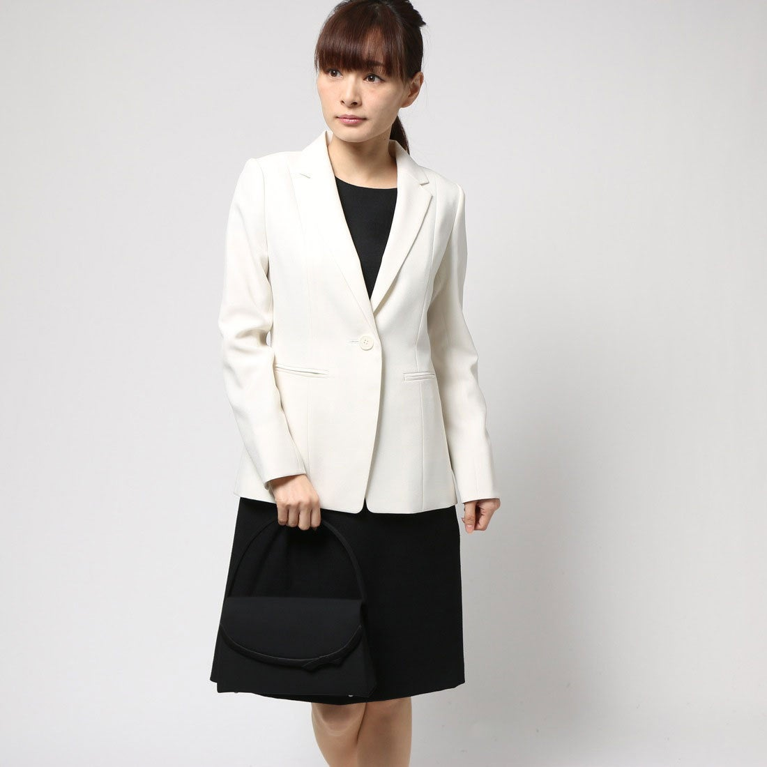 d28caf56a397d ブラックギャラリー BLACK GALLERY ロングテーラードジャケットとワンピのアンサンブルスーツ (アイボリー) [ブラックフォーマル 喪服  礼服] -靴&ファッション ...