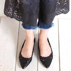 ジェリービーンズ JELLY BEANS フラワー刺繍カットワークパンプス 141-5841 (黒)