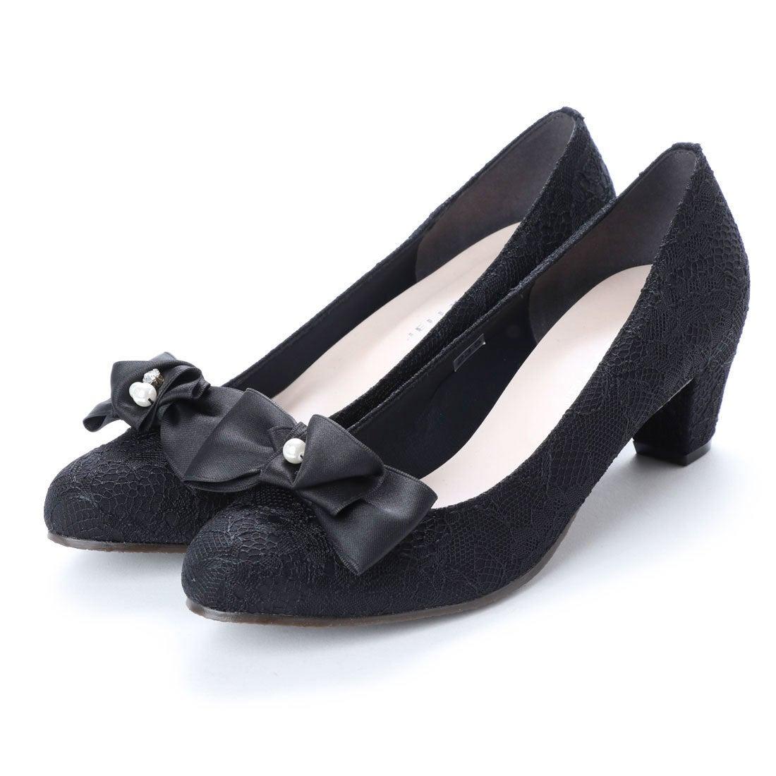 cf8e8a5d2a1e3 ジェリービーンズ JELLY BEANS 2wayパールビジューリボンパンプス 125-5346 (黒レース) -靴&ファッション通販  ロコンド〜自宅で試着、気軽に返品
