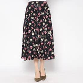 アウリィ AULI 前釦花柄スカート (BK)