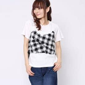 ファクターイコール Factor= チェック柄ビスチェ付ロンTシャツ (WH)