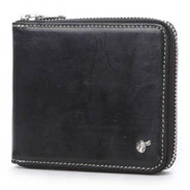 ブリティッシュグリーン BRITISH GREEN ブライドルレザーラウンドファスナー二つ折り財布 (ブラック)