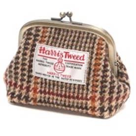 ハリスツイード Harris Tweed 日本製ハリスツイードがまぐちポーチ (ブラウン)