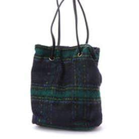 ミニア minia 巾着バッグ(PU/チェック) (グリーン系チェック)