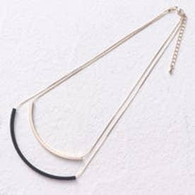 ミニア minia 配色モチーフ2連ネックレス (ゴールド)