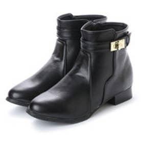 アタガール attagirl 2.5cm ローヒール ベルト デザイン ショート ブーツ (ブラックスムース)