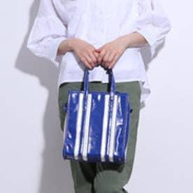 【ピーシーティー P・C・T】 Fレザーストライプショルダーバッグ/ハンドバッグ (BLUE)