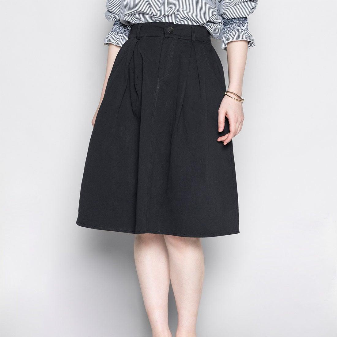 【ピーシーティー P・C・T】コットン100%ウエストストレッチ膝丈フレアスカート (BLACK)